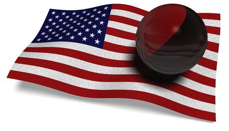 3D illustration. USA flag with an Antifa flag in a ball