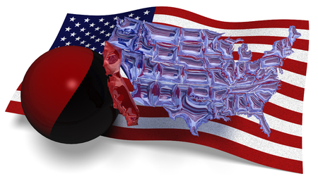 3D illustration. See through map of America against a USA flag and a Antifa flag in a ball hitting California loose of the rest of America Stok Fotoğraf