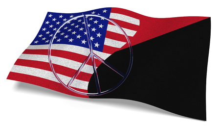 3D illustration. USA flag and an Antifa flag with a peace sign