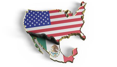 3D Illustration. Border wall between Mexico and USA