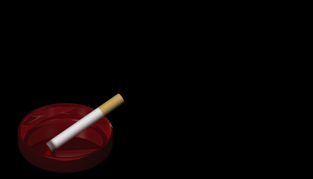 3D Illustration. A burning cigarette in a red ashtray