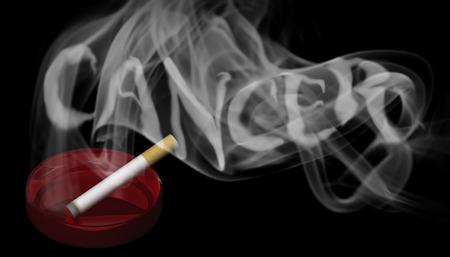 Illustrazione 3D una sigaretta accesa in un posacenere rosso con una torcia nel fumo Archivio Fotografico - 87641690