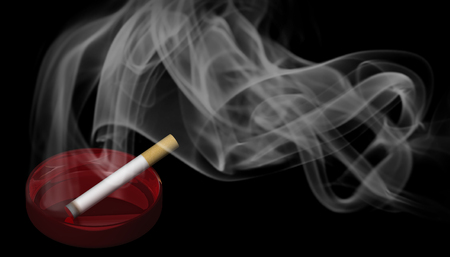 3D Illustration. A burning cigarette in a red ashtray with smoke