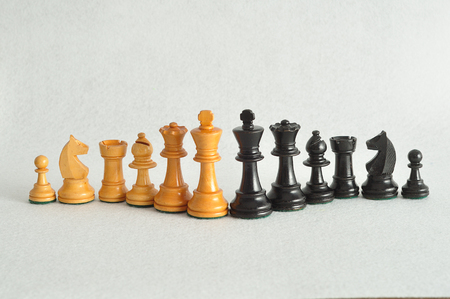 The different chess pieces isolated on a white background Stock Photo