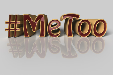 3D Illustration.  Hashtag Me too in red letters on white background as trending social-media movement against sexual harassment