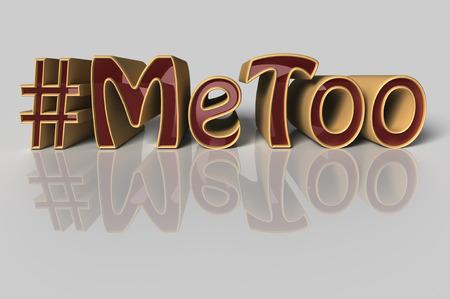 Illustration 3D Hashtag Moi aussi en lettres rouges sur fond blanc en tant que mouvement social médiatisé contre le harcèlement sexuel