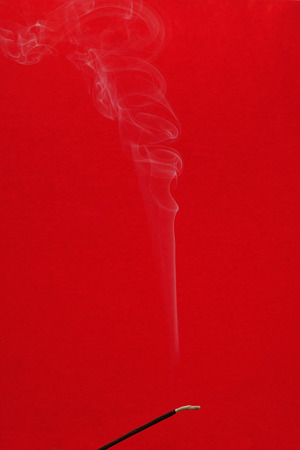 Abstract white smoke from an incense sticks Stock Photo