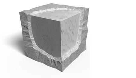 3D illustratie. Gladde en ruwe ashlar.