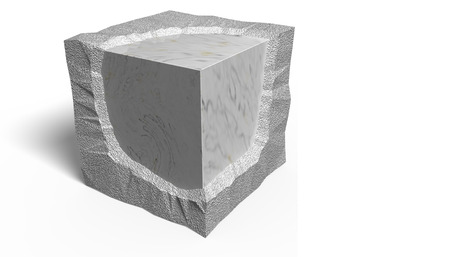 3D Illustration. Smooth and rough ashlar.