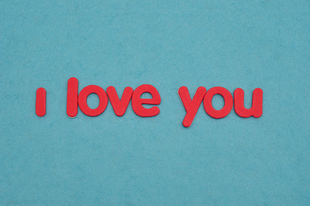 I love you in red letters on a blue background