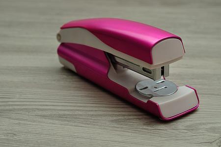 A pink stapler