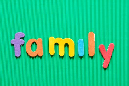 The word family in colorful letters on a green background