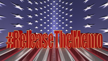 3D Illustration. Hash tag Release the memo in red letters with a gold border against an American flag background 版權商用圖片
