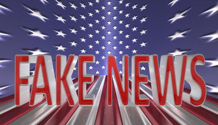 3D Illustration. Fake news in red letters with a silver border against an American flag background Stock Photo