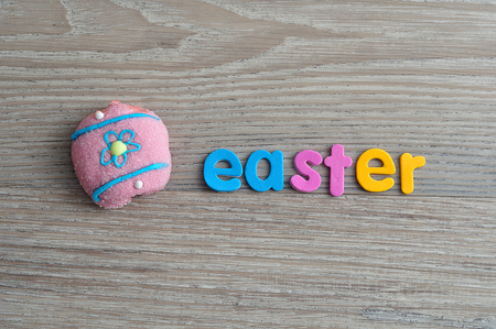 An egg shape marshmallow with the word easter