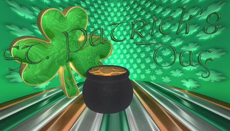 3D Illustration. A clover with a pot of gold. Symbols for Saint Patricks day isolated against a flag of Ireland