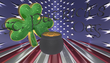 3D Illustration. A clover with a pot of gold. Symbols for Saint Patricks day isolated against a flag of America
