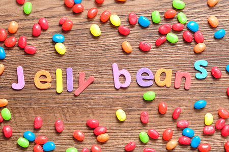 The words jelly beans displayed with colorful jelly beans Stock Photo