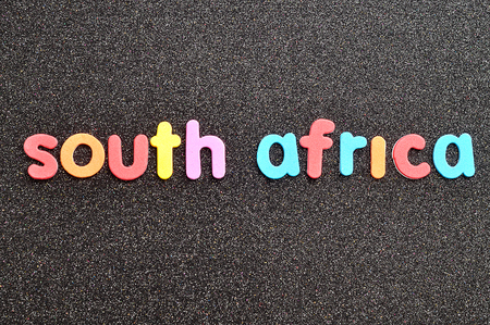 The word South Africa on a black background