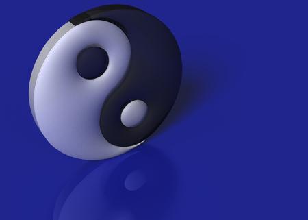 3D Illustration. A yin yang sign on a blue background