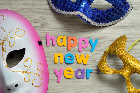 Masks with the words happy new year