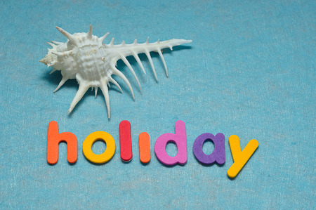 Sea shell displayed with the word holiday Stock Photo