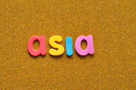 The word Asia in colorful letters