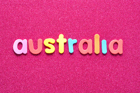 The word Australia in colorful letters