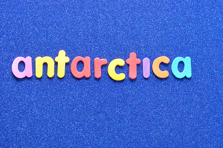The word Antarctica in colorful letters
