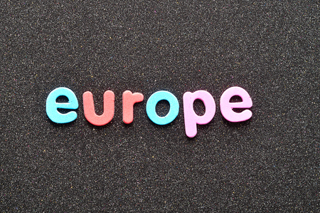 The word Europe in colorful letters