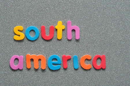 The words South America in colorful letters Stock Photo