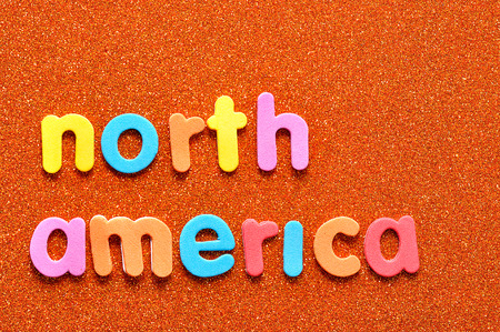 The words North America in colorful letters
