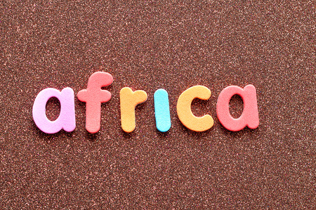 The word Africa in colorful letters Stock Photo