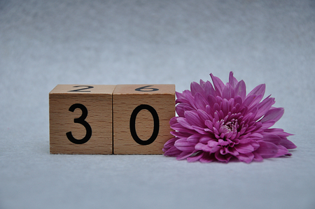 Number thirty with a pink aster on a white background