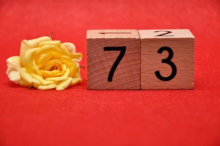 Number seventy three with a yellow rose on a red background