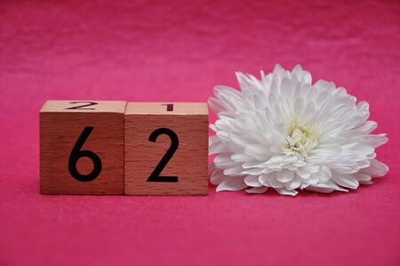 Number sixty two with a white aster on a pink background