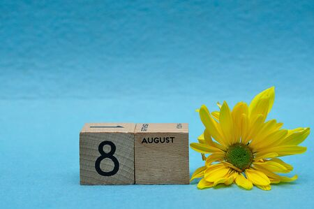 8 August on wooden blocks with a yellow aster on a blue background