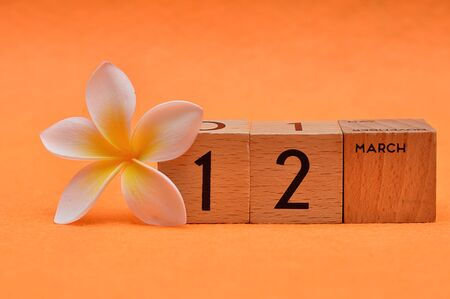 12 March on wooden blocks with a Frangipani flower on an orange background