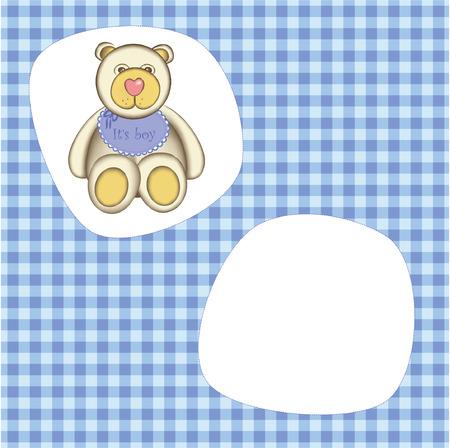 Bear for baby boy . Good for photo frame Vector