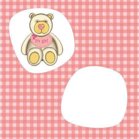 Bear for baby girl . Good for photo frame Vector