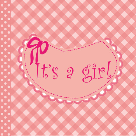 Bear for baby girl - baby arrival announcement  Vector