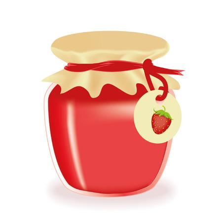 mermelada: Frasco de vector de mermelada de fresa aislado Vectores