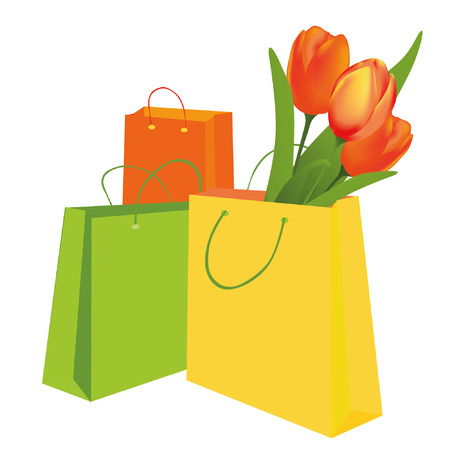 Tulips in the shopping bag Stock Vector - 8976969