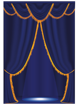magnificence:   Vector blue curtain