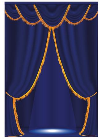 Vector blue curtain Vector