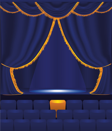 blue velvet: vector illustration of the empty cinema Illustration