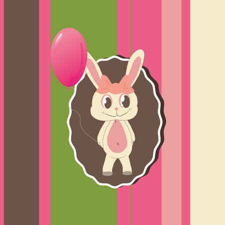Greeting card with cute bunny  Vector
