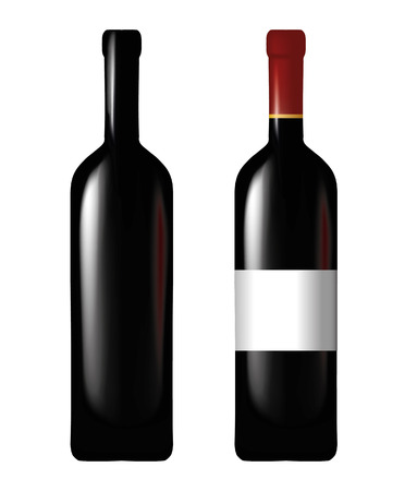 glass with red wine: Wine bottle - mesh and gradient only