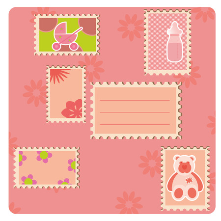 Greeting card with many stamps.  Vector