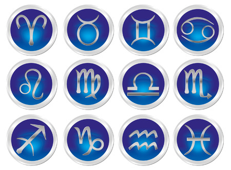abstract aquarius: Horoscope zodiac signs Illustration